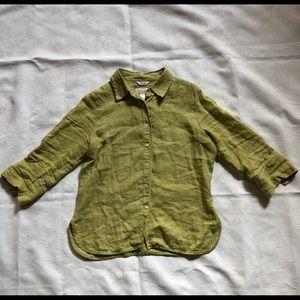 Talbot's Avocado green Irish linen button up